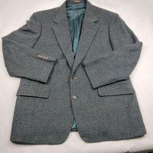 Vintage plaid mens wool blazer